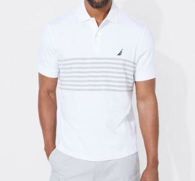 Classic Fit Performance Tech Polo In Strip White T-Shirt