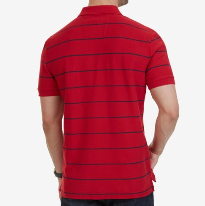 Classic Fit Striped Performance Polo Red Shirt