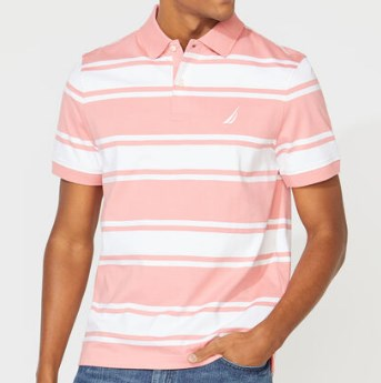 Classic Fit Striped Polo Pink & White Shirts