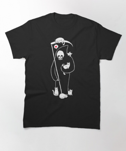 Death Is A Cat Person Classic Black T-Shirt