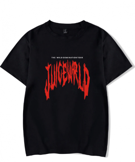 JuiceWrld Red Text T-Shirt In Black White Blue Color
