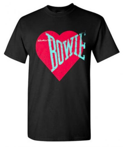 Love Bowie Red Heart Black T-Shirt For Men's