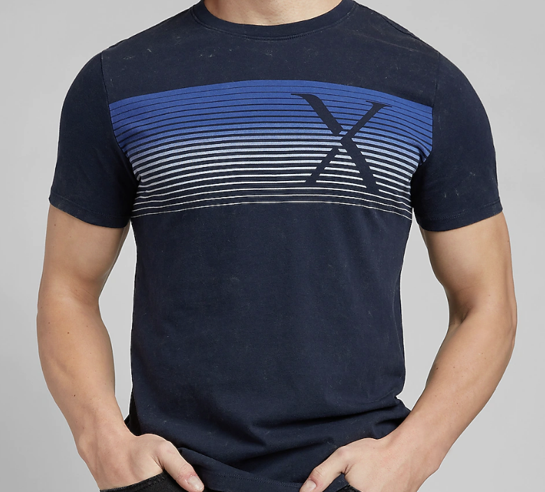Henley Navy Marbled Logo Graphic T-Shirt