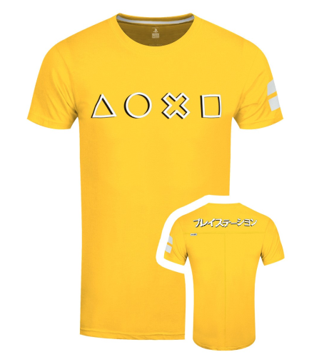 PlayStation Icons Men's Yellow Long Line T-Shirt