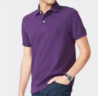 Short Sleeve Slim Fit Solid Deck Polo Purple T-Shirt