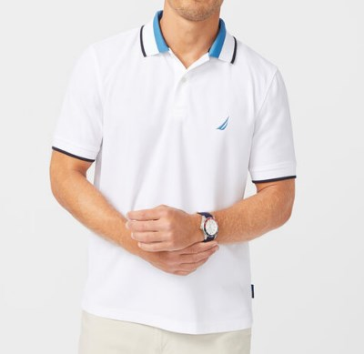 Sustainably Crafted Colorblock Collar Polo White Shirt