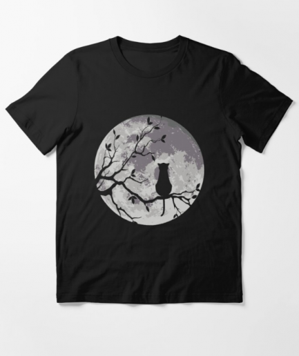 The Cat And The Moon Essential Black T-Shirt