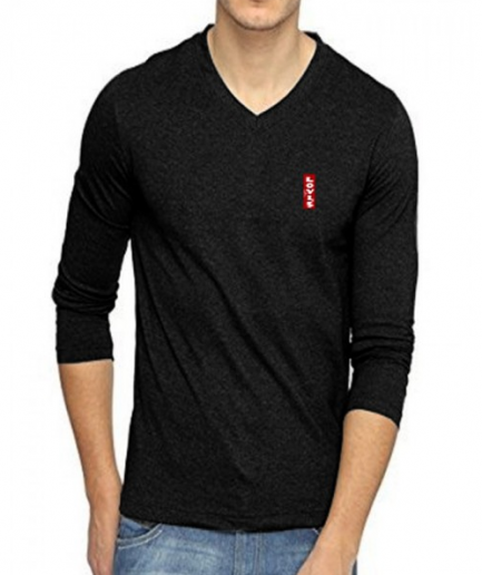 Charcoal Heather Long Sleeve Black T-Shirt For Men's