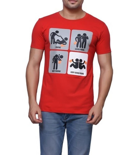 Friends Pictures Design Half Sleeve red T-Shirt For Men