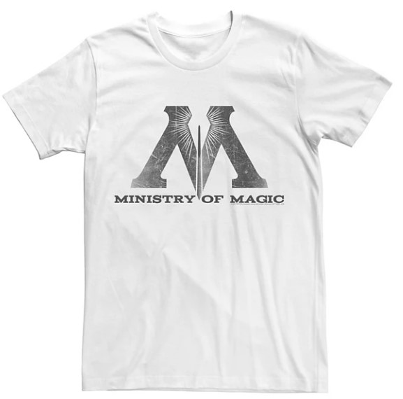 Harry Potter Ministry Of Magic Distressed Logo Graphic White Tee