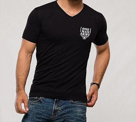 One Man Army Short Sleeve Printed Black T-Shirt For Men's