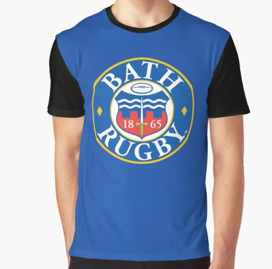 Bath Rugby Half Sleeve Graphic Blue T-Shirt For Men