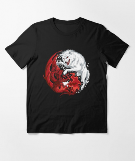 Dragon and Wolf Black T-Shirt for Men's