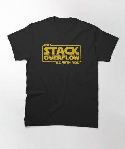 May Stack Overflow Be With You Black T-Shirt For Men