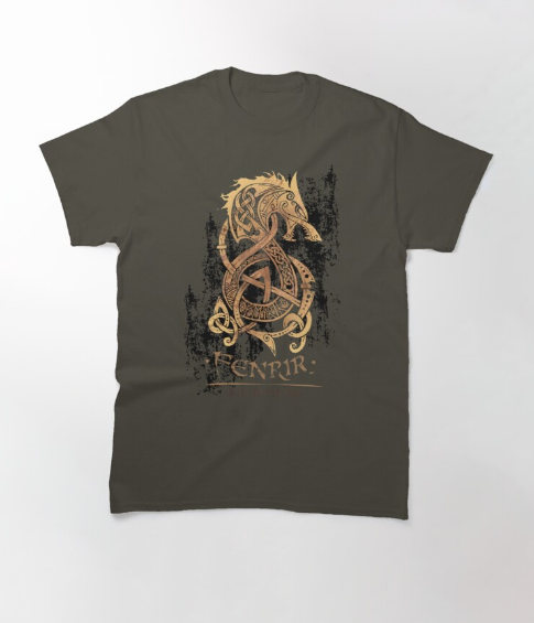 The Monster Wolf of Norse Gray T-Shirt For Men