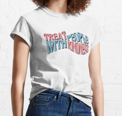 Treat People With Kindness White T-Shirt For Women's