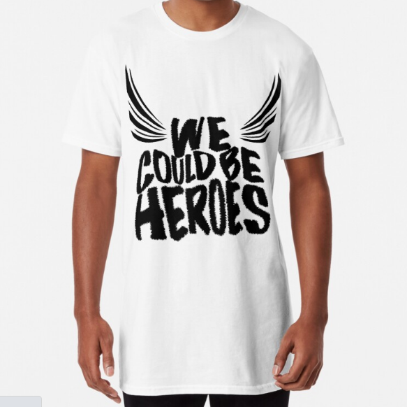 We Could Be Heroes Long WHITE T-Shirt for Men