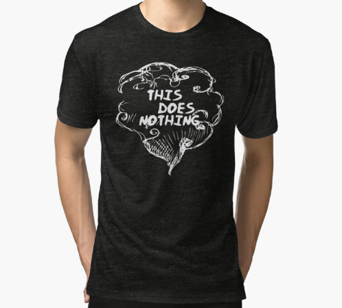 this does nothing Essential Black T-Shirt for Men