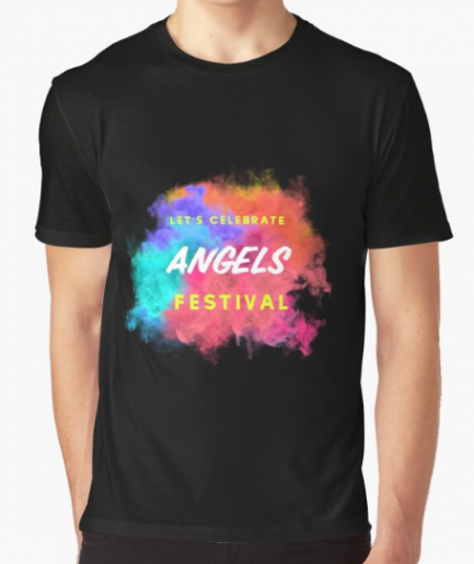 Happy With Angels And Festival Black T-Shirt