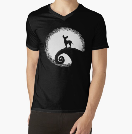 Chihuahua And Moon Halloween Black T-Shirt For Men