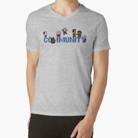 Community Logo with Characters Essential Gray T-Shirt