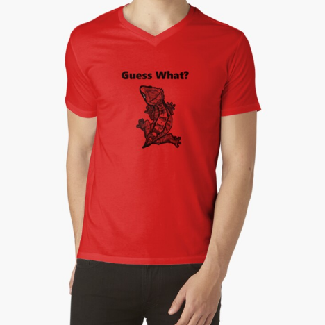 Crested Gecko Guess What? Frog Butt Red T-Shirt For Men