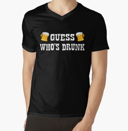 Guess Who's Drunk Black T-Shirt For Men