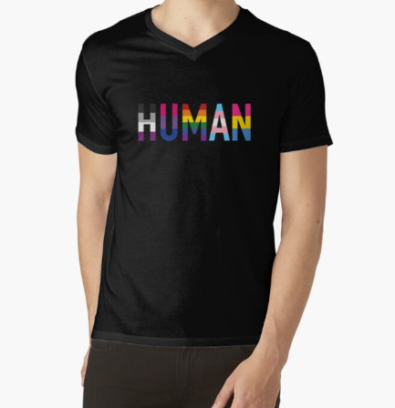 Human, Various Queer Flags V-Neck Black T-Shirt