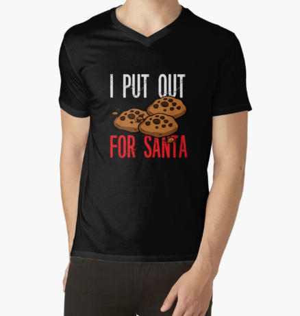I Put Out for Santa Christmas Cookies Black T-Shirt For Men's
