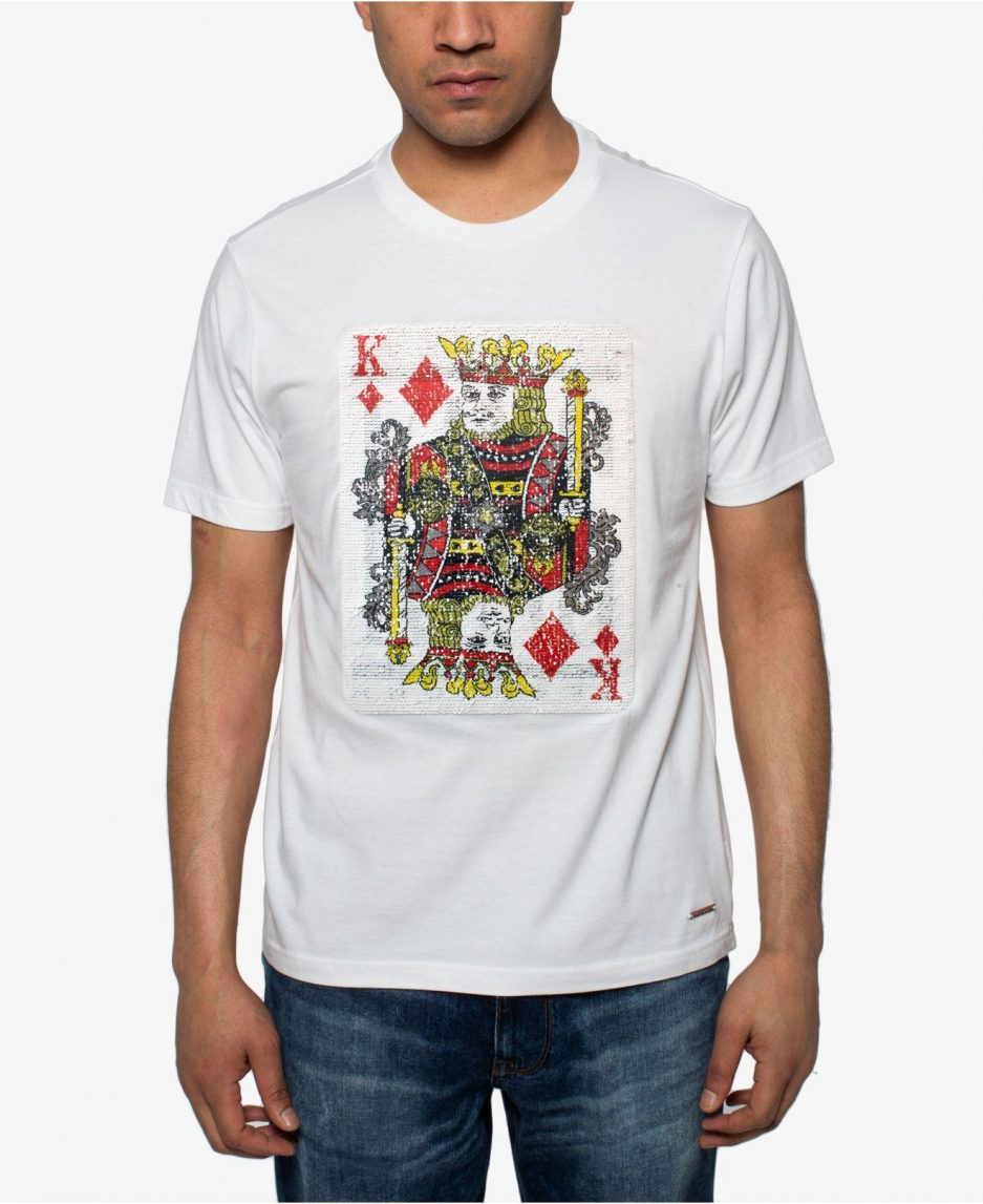 King Of Hearts Sequin Graphic White T-Shirt For Men