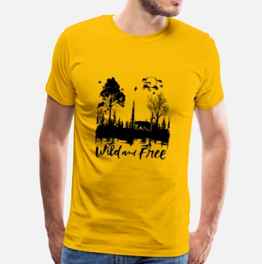 Wild And Tree Yellow T-Shirt For Men