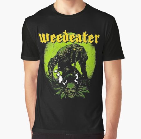 Weed Monster Graphic Black T-Shirt
