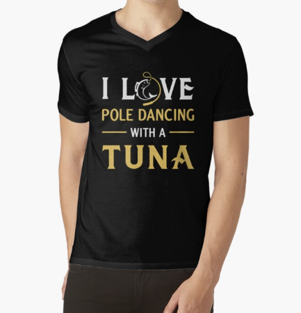 I love Pole Dancing With A Tuna Black T-Shirt For Men's