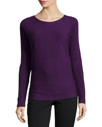 Long Sleeve Ribbed Purple T-Shirt for Women's