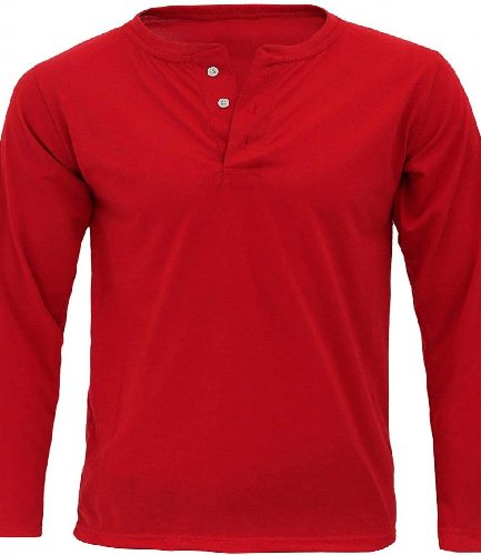 Men's Casual Button Red T-Shirt